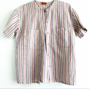 MISSONI pockets stripped button up shirt vintage M